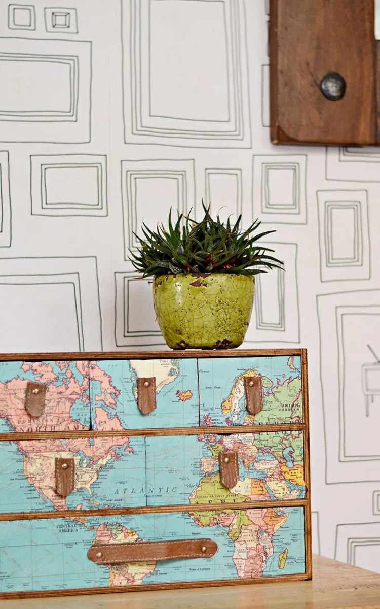 moppe chest with map decoupage