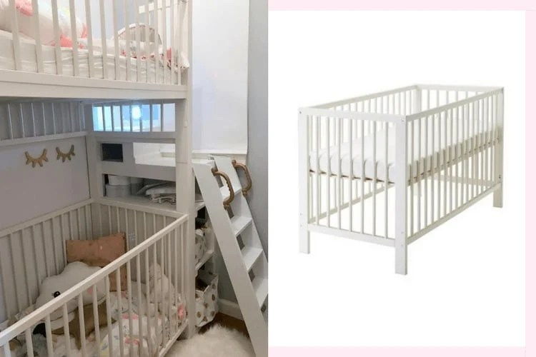 Beautiful Crib bunk bed hacked from IKEA GULLIVER cots