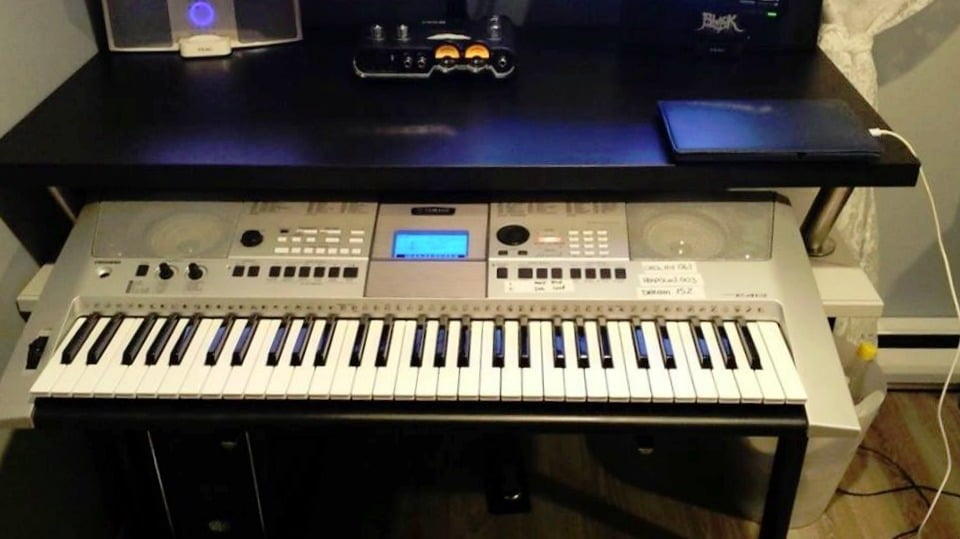 Audio Production Workstation with pull-out keyboard tray and pull-out MIDI keyboard