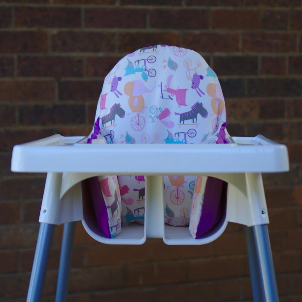 IKEA High Chair cushion design - purple-playful-animals