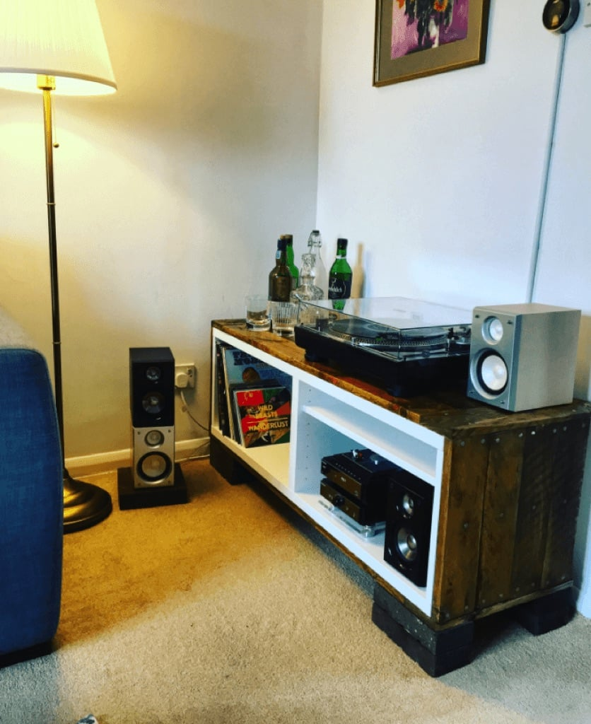 Record player console hacked from BESTÅ cabinets