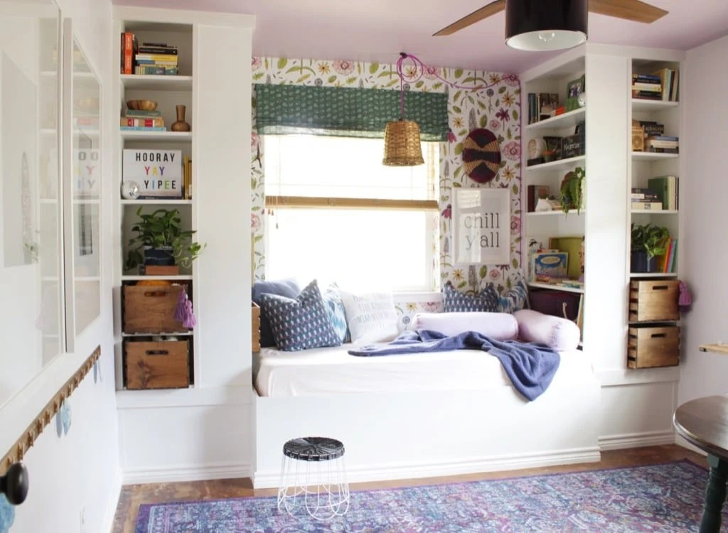 Daybed reading nook with IKEA bookselves