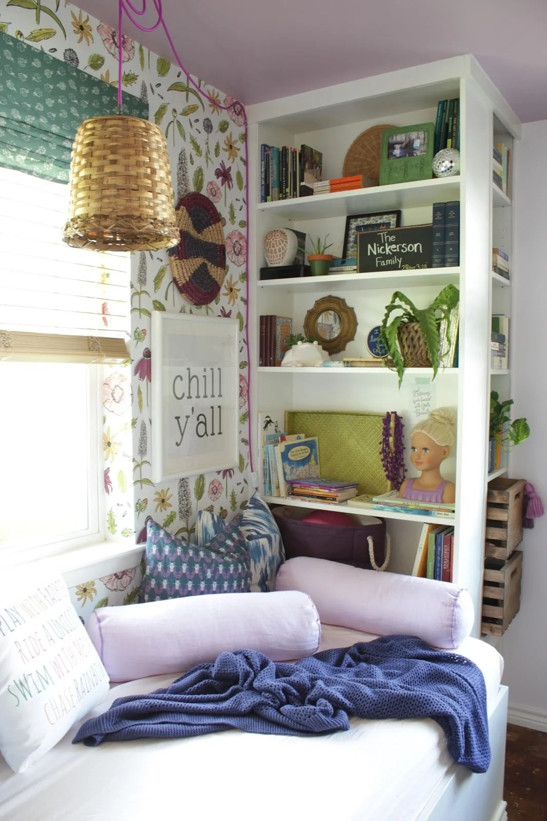 Daybed reading nook with IKEA bookshelves