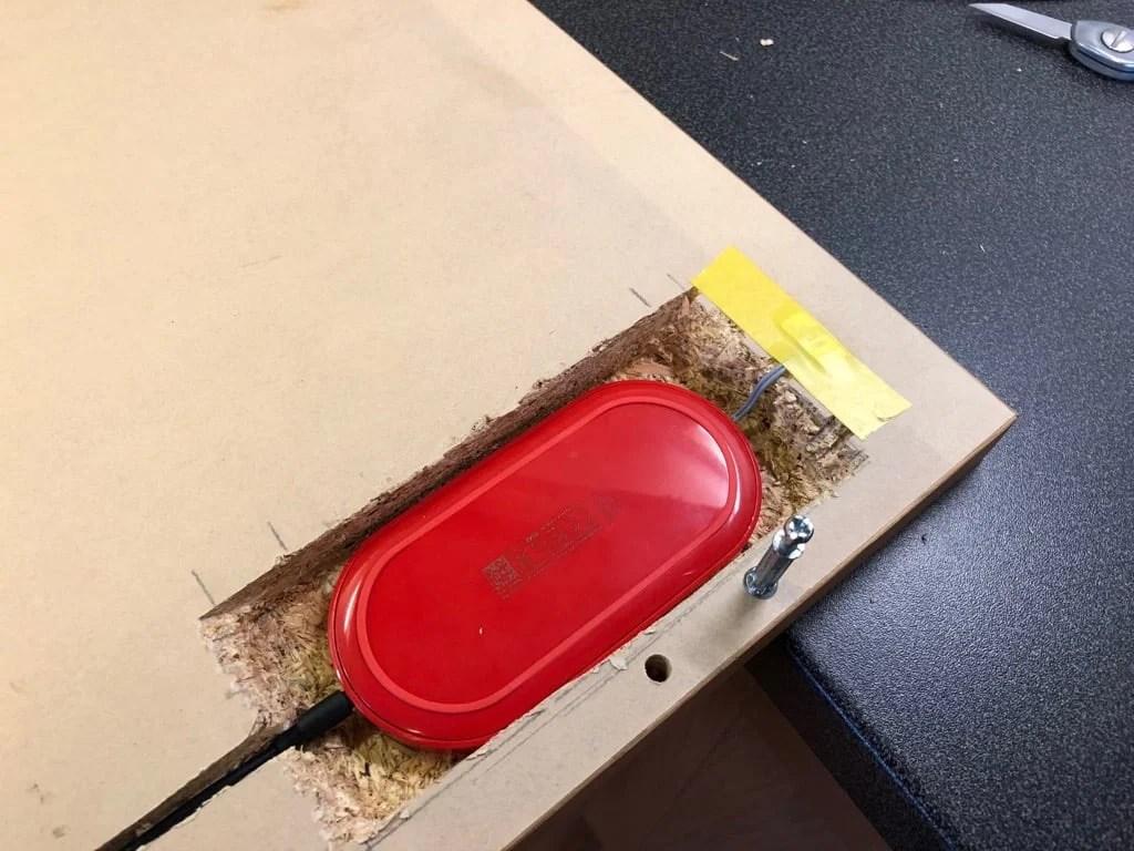 Wireless Charging Pad Hidden in IKEA bedside table