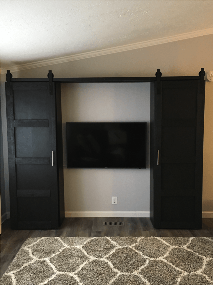 kitchen barn doors paint for cabinets to close up an entertainment center - ikea hackers