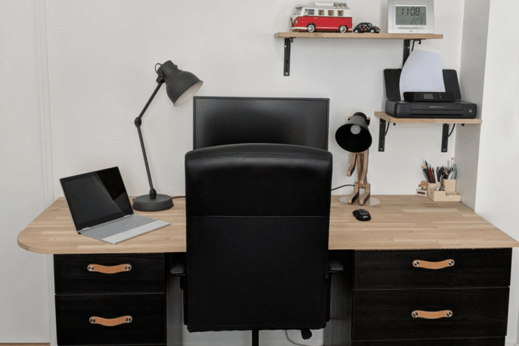 Industrial Style Desk From Kitchen Cabinets Ikea Hackers