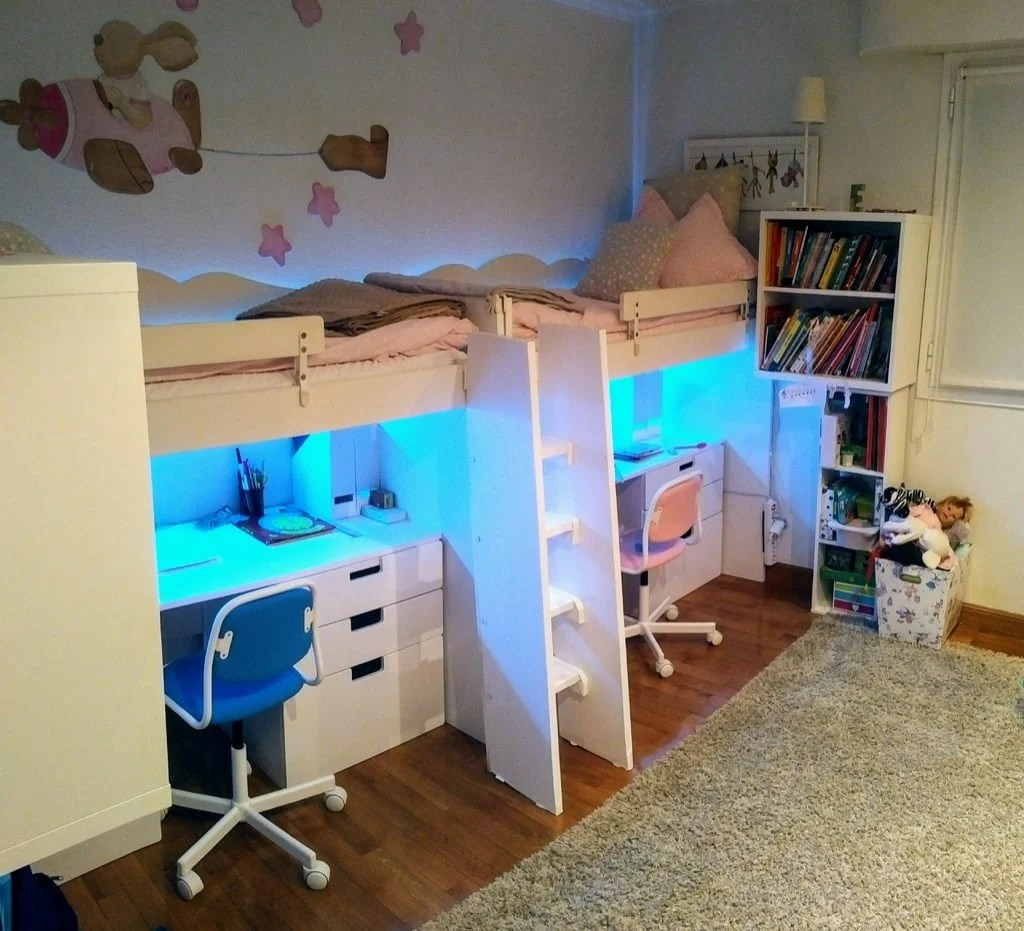 Loft beds using IKEA KRITTER kid's beds
