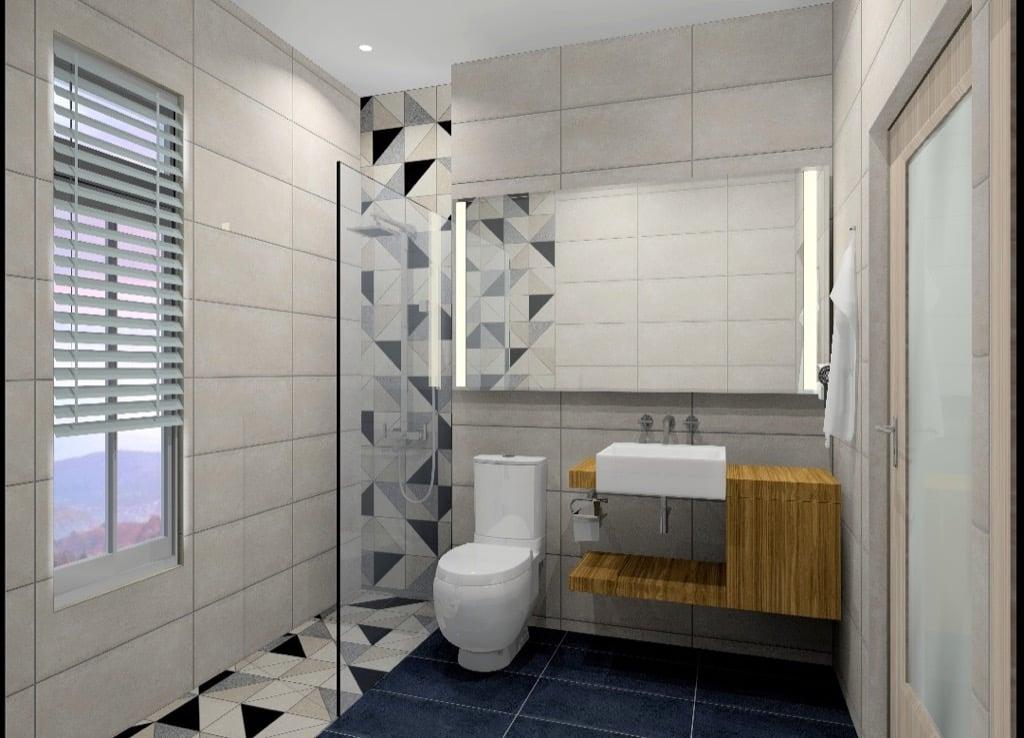 Feruni bathroom tiles triangles