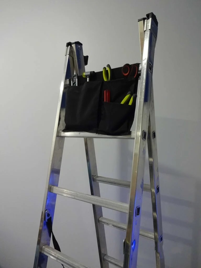 Ladder tool bag with repurposing IKEA STICKAT