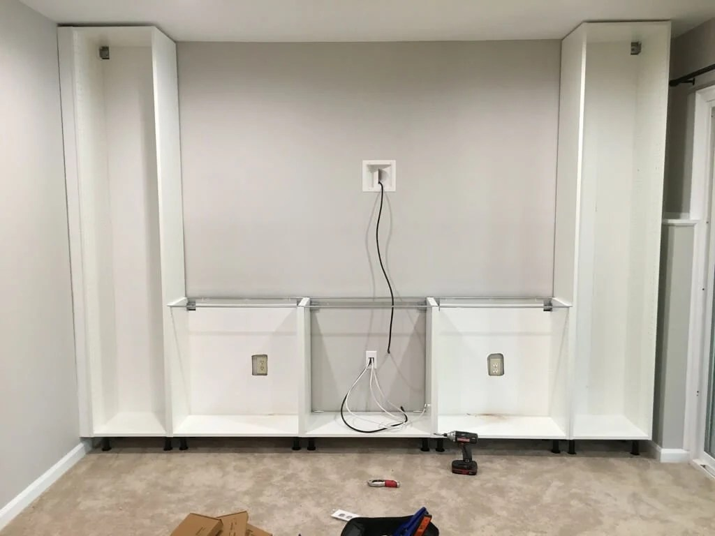how to build an entertainment center with kitchen cabinets