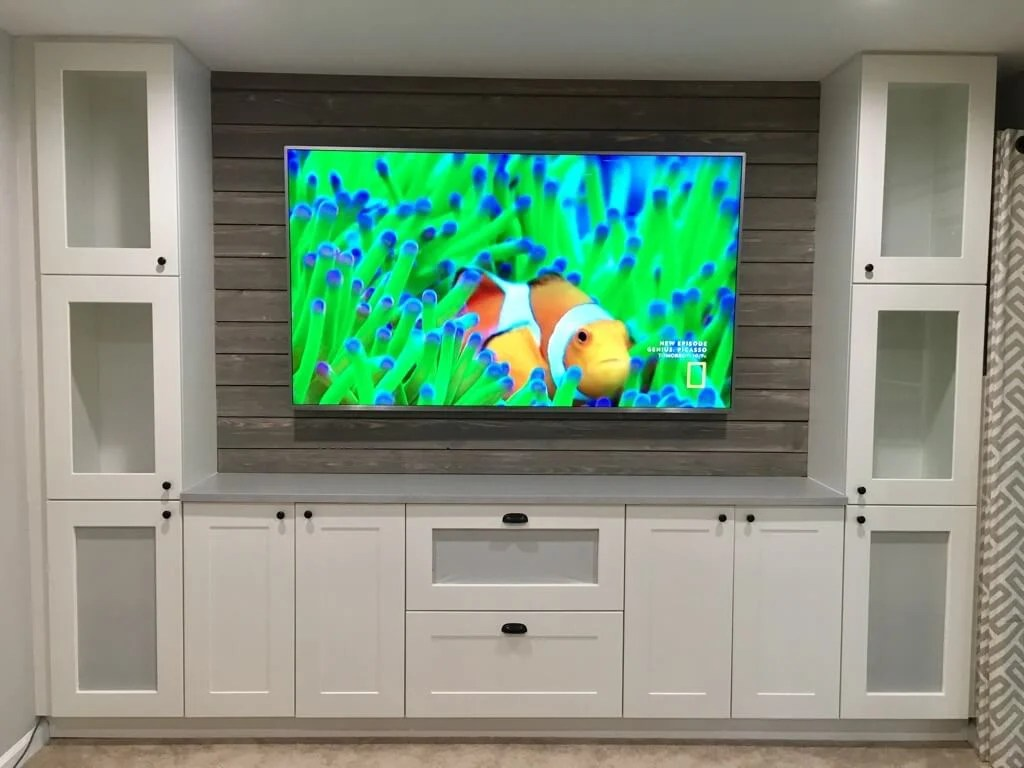 Shiplap Entertainment Center from IKEA kitchen cabinets - IKEA Hackers