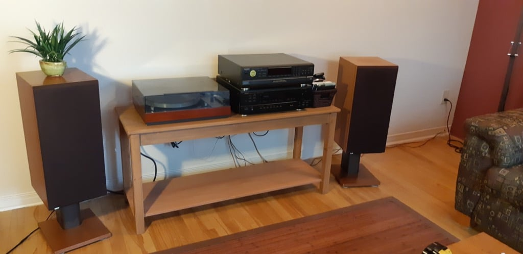 Sound system console table from $69 IKEA dining table
