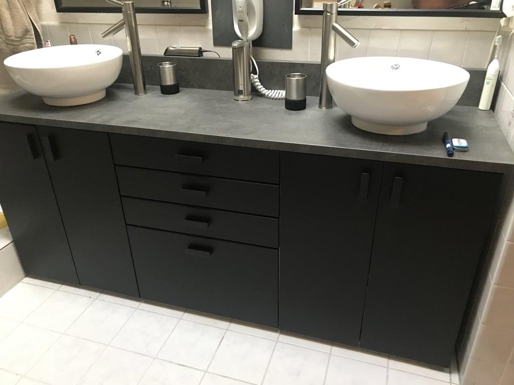 Make It A Double Sink Vanity A Kitchen Cabinet Hack Ikea Hackers
