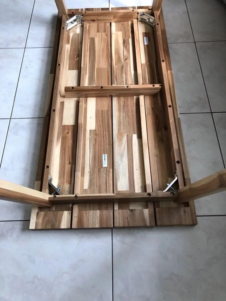 Natural wood coffee table - IKEA SKOGSTA bench hack