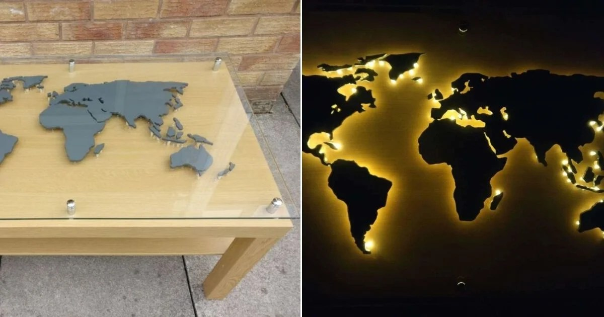 back lit world map coffee table