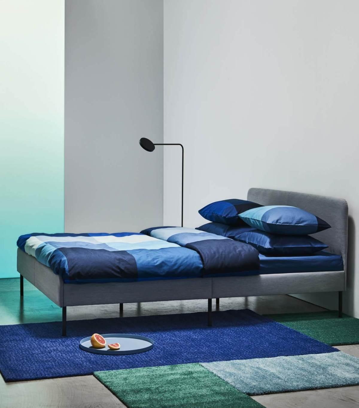 SLATTUM upholstered queen bed frame
