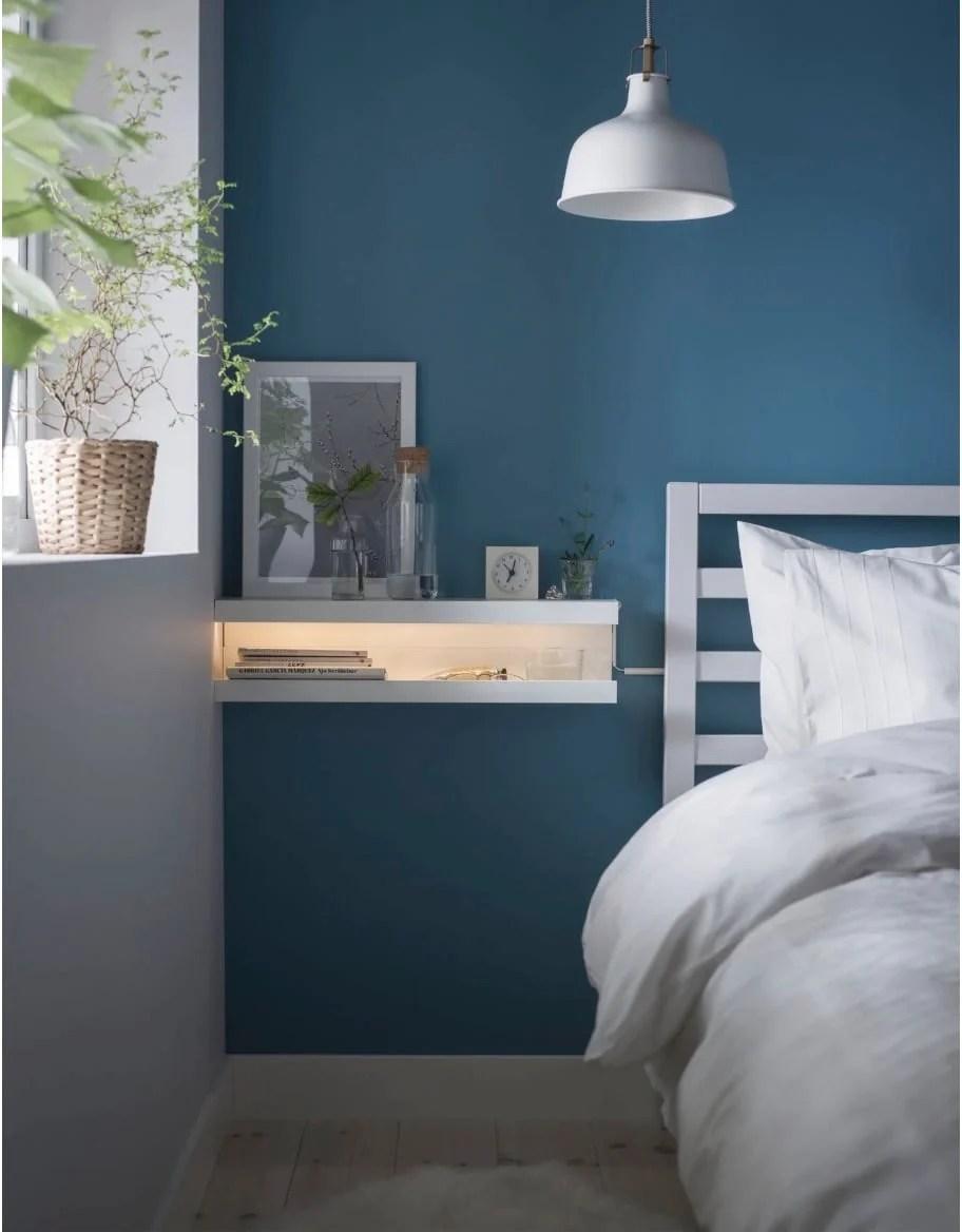 IKEA MOSSLANDA picture ledge as nightstand
