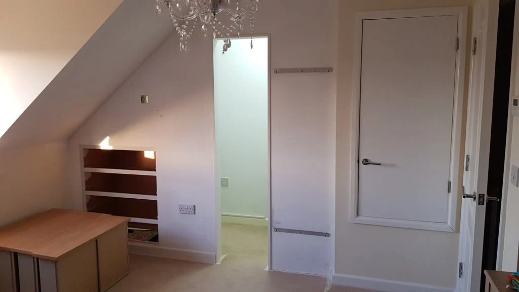 plasterboard and opening to closet