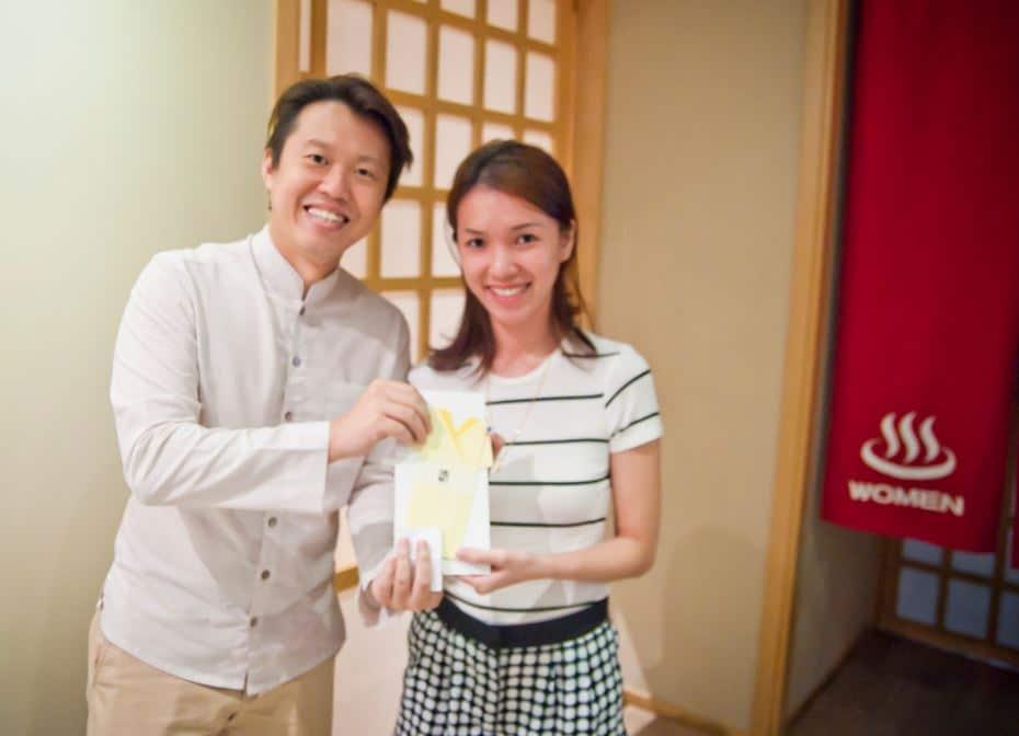 Lucky winner that won our Onsen bath + 60minutes Zen Candle treatment ! ^~^