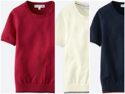 コットンカシミヤクルーネックセーター(半袖)+E