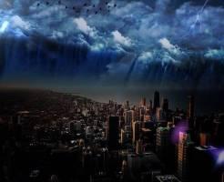 地震による津波に襲われる都市