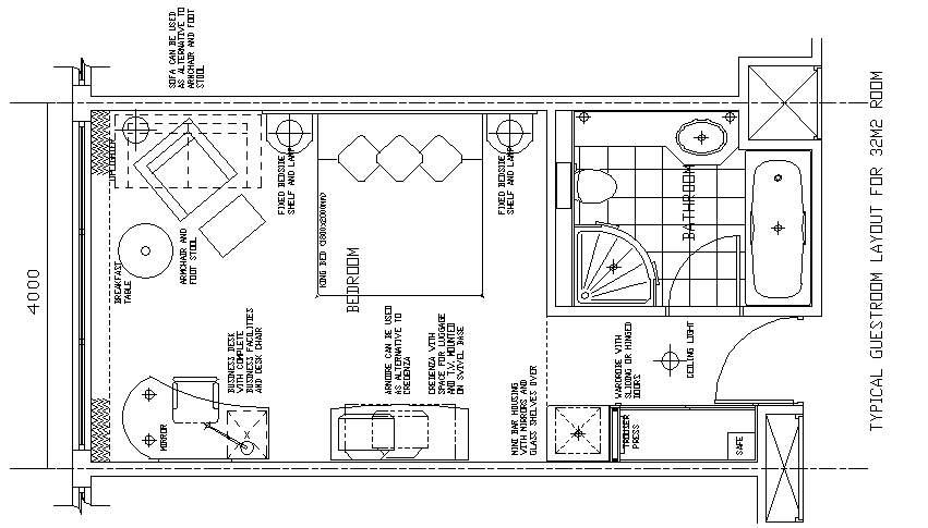 Hotel Design Guestroom Sample Plan 11