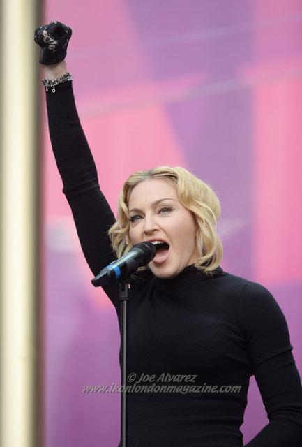 "Madonna speaks on stage at ""Sound Of Change"" at Twickenham Stadium. © Joe Alvarez"