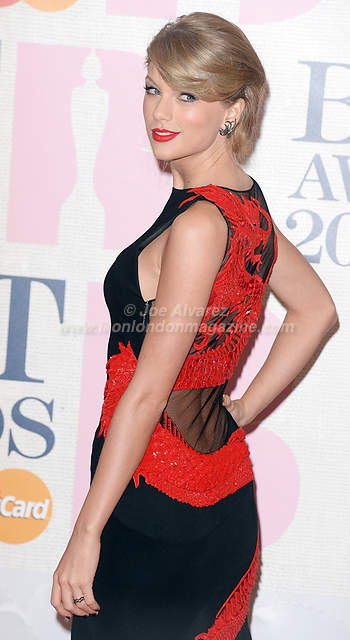 Taylor Swift attends the Brit Awards Awards at the O2 Arena.