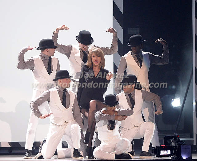 Taylor Swift performs at the Brit Awards Awards at the O2 Arena.