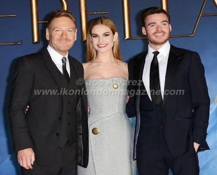 Kenneth Branagh, Lily James, Richard Madden arrives at Cinderella London Premiere © Joe Alvarez