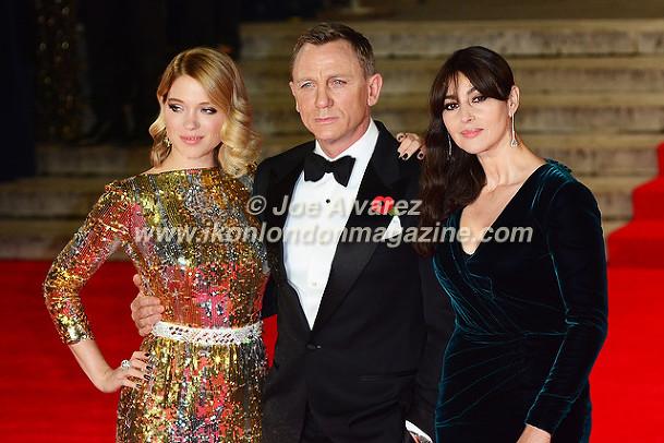 Lea Seydoux, Daniel Craig, Monica Bellucci at the World Premiere of Hames Bond Spectre at Royal Albert Hall © Joe Alvarez