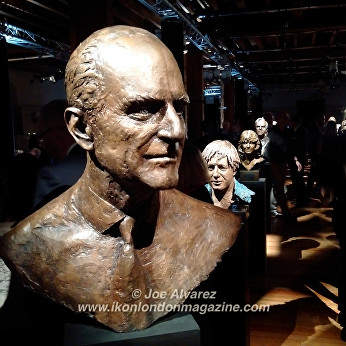 Bust of Prince Philip at Royal Sculptor Frances Segelman Heads at The Tower exhibition