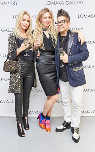 Olivia Arben, Tamara Orlova-Alvarez, Joe Alvarez at Olga Lomaka Gallery opening