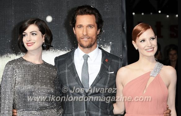Matthew McConaughey Jessica Chastain and Anne Hathaway at the World Premiere of Interstellar © Joe Alvarez