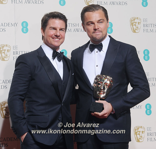 Tom Cruise and Leonardo DiCaprio attend the Winner's Room at EE British Academy Film Awards at the Royal Opera House.