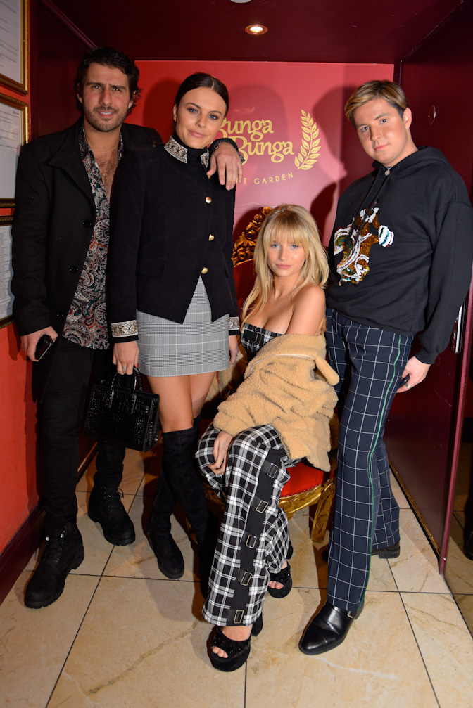 Alik Alfus, Emily Blackwell, Lottie Moss and Valentine Sozbilir at the Bunga Bunga Covent Garden 1st Anniversary Party