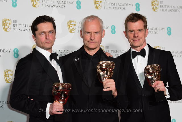 Martin McDonagh, Graham Broadbent and Peter Czernin - Outstanding British Film - 'Three Billboards Outside Ebbing, Missouri' EE BAFTAS 2018 © Joe Alvarez 14438