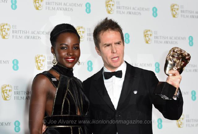 Lupita Nyong'o and Sam Rockwell EE BAFTAS 2018 © Joe Alvarez 14439