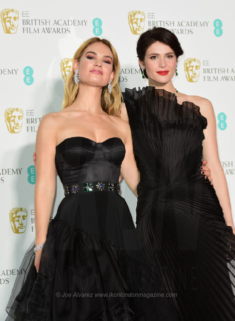 Lily James, Gemma Arterton EE BAFTAs Winners Room © Joe Alvarez