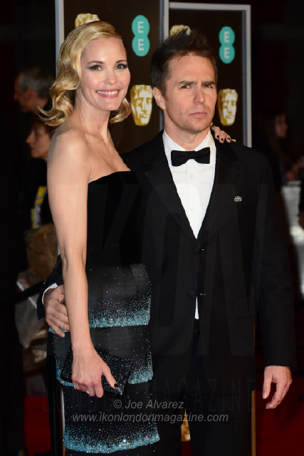 Leslie Bibb and Sam Rockwell The BAFTAS arrivals © Joe Alvarez 14049