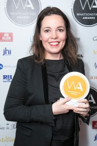 Olivia Colman accepts the award for Best Actress in a Play for Mosquitoes Whatsonstage Awards