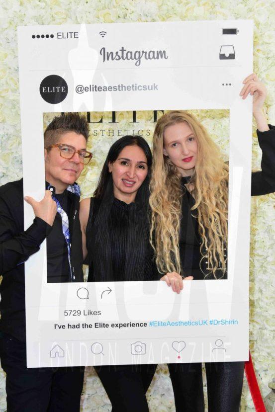 Joe Alvarez, Dr Shirin Lakhani, Tamara Orlova-Alvarez at the Elite Aesthetics party © JOE ALVAREZ