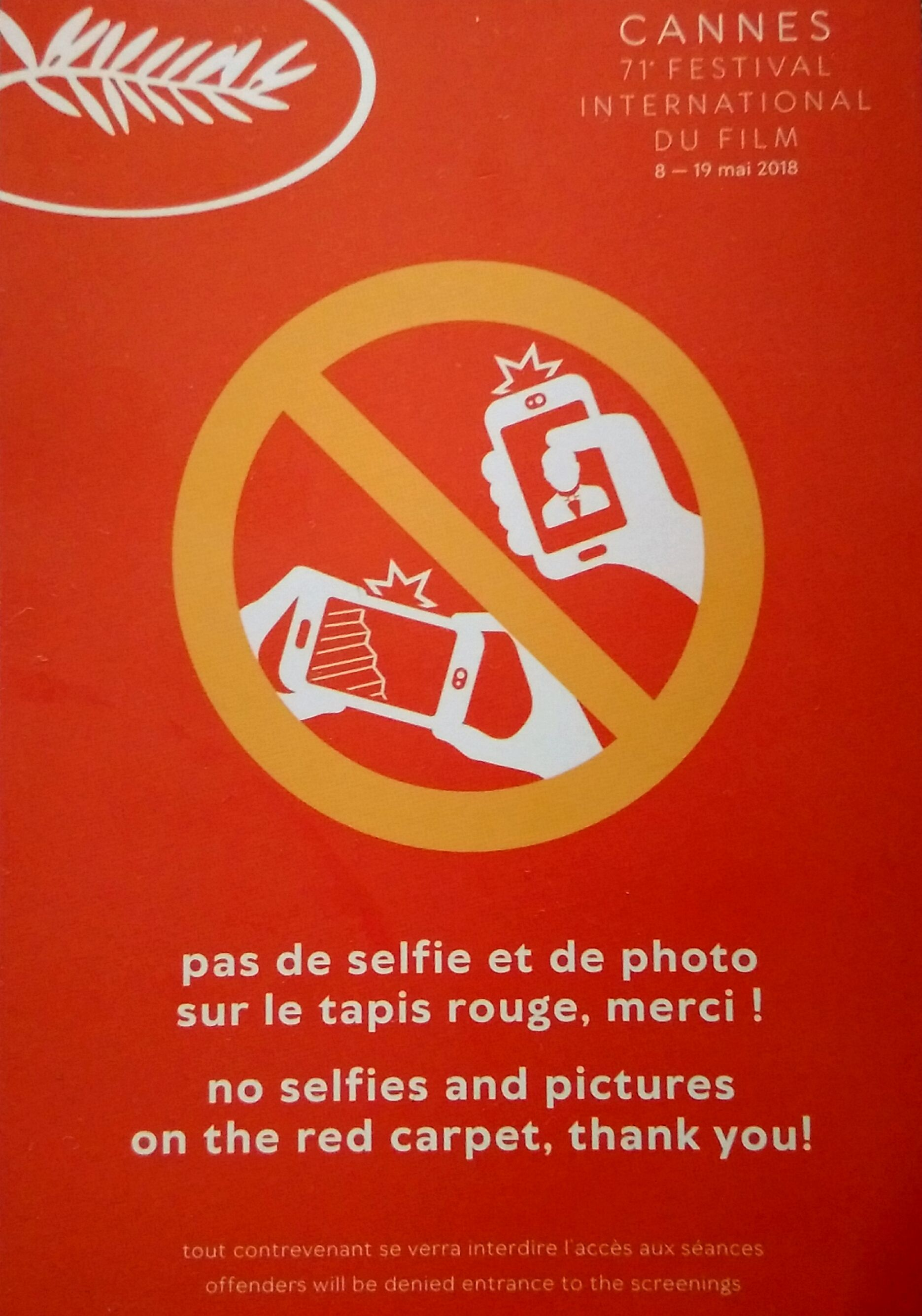 Cannes Film Festival Red Capet etiquette no selfies on the red carpet