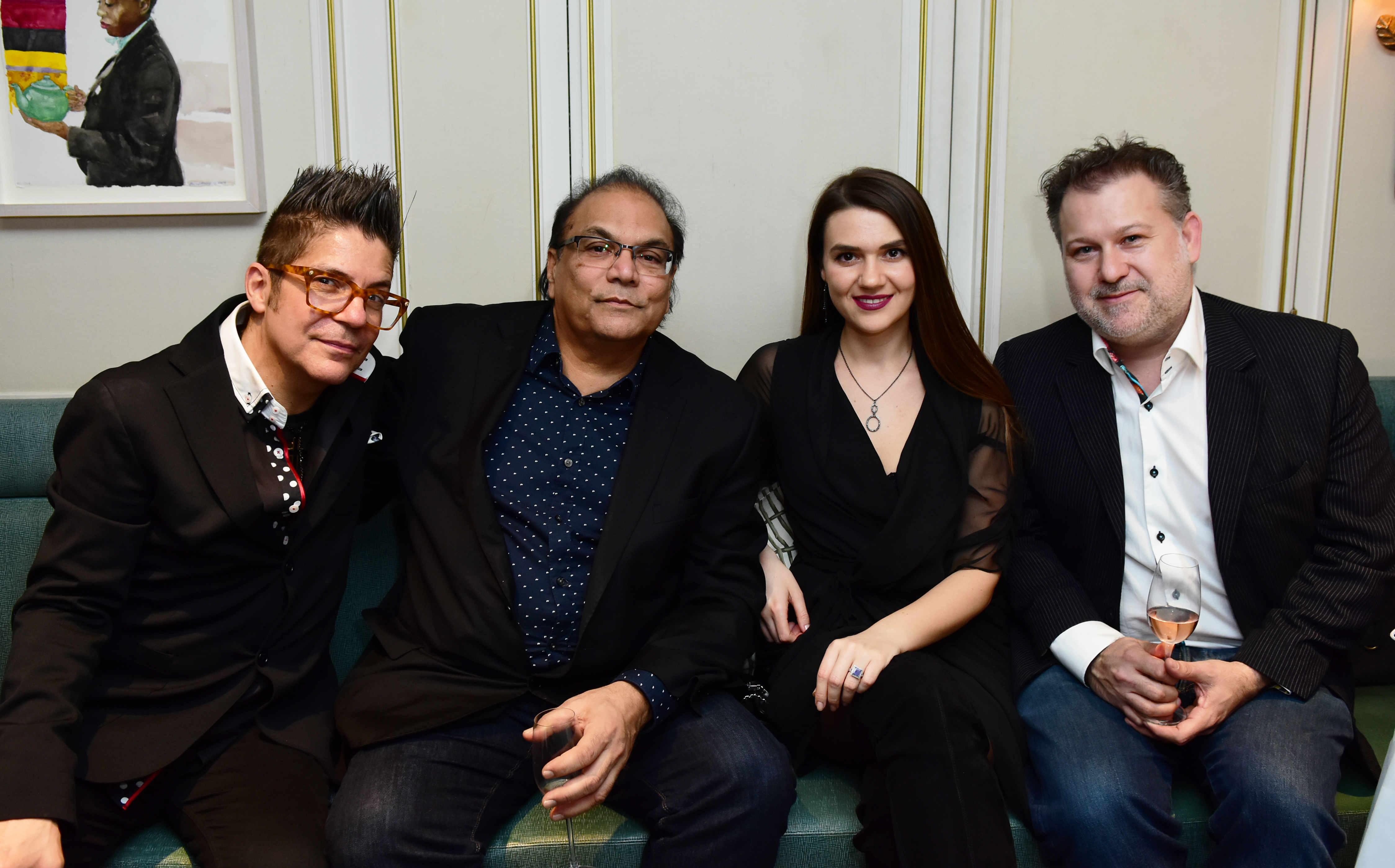 Joe Alvarez, Dipak Darbari, Olesea Luchian, Adam Ziff Fortras fashion showcase at Fortnum and Mason. © Joe Alvarez