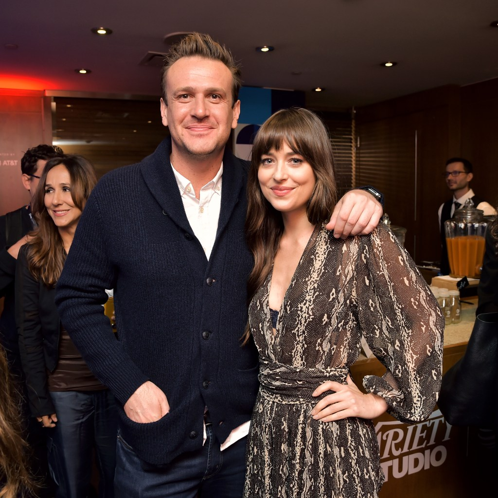 TORONTO, ONTARIO - SEPTEMBER 07: Jason Segel and Dakota Johnson stop by AT&T ON LOCATION during Toronto International Film Festival 2019 at Hotel Le Germain on September 06, 2019 in Toronto, Canada. (Photo by Stefanie Keenan/Getty Images for AT&T)