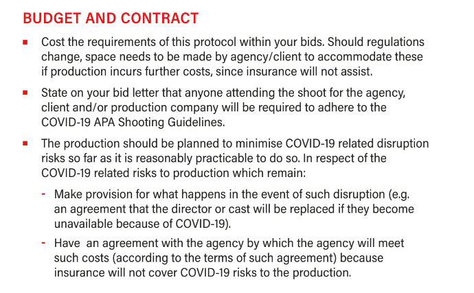Film production budgeting guidelines during COVID-19