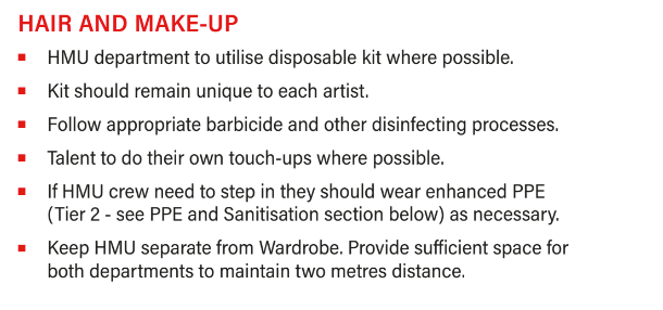 Hair and Make-Up guidelines during COVID-19