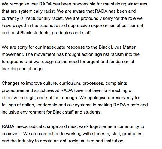 RADA Woke email by Edward Kemp