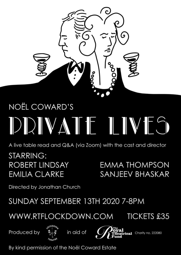 Noel Coward's 'Private Lives' Zoom Emilia Clarke, Emma Thompson