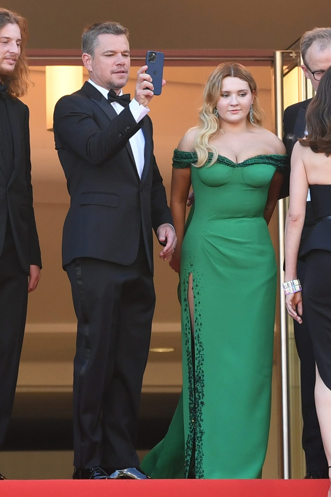 Matt Damon and Abigail Breslin attend the screening of 'Stillwater' during the 74th Cannes Film Festival in Cannes, France. © Rune Hellestad